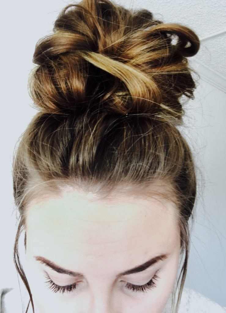 5 step messy top knot