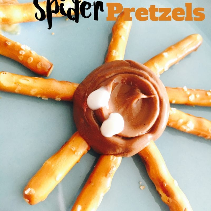 Halloween Spider and Web Pretzels