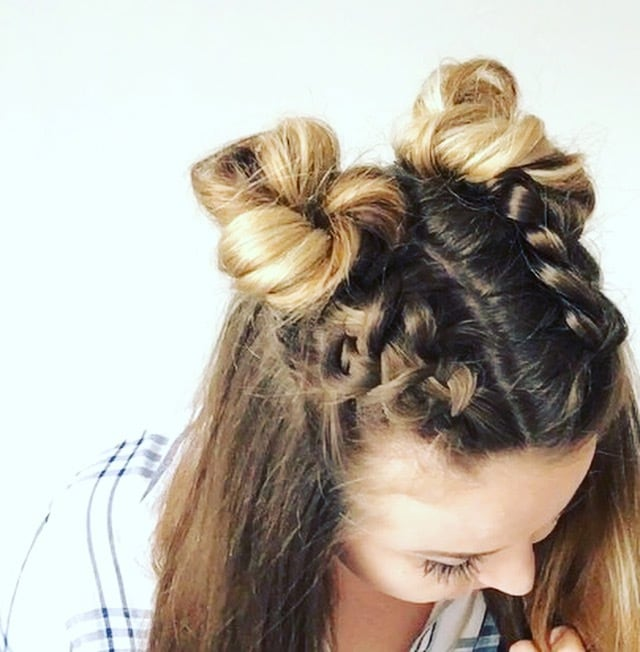 Double Dutch Braid Buns Half Up Hairstyle Cassie Scroggins