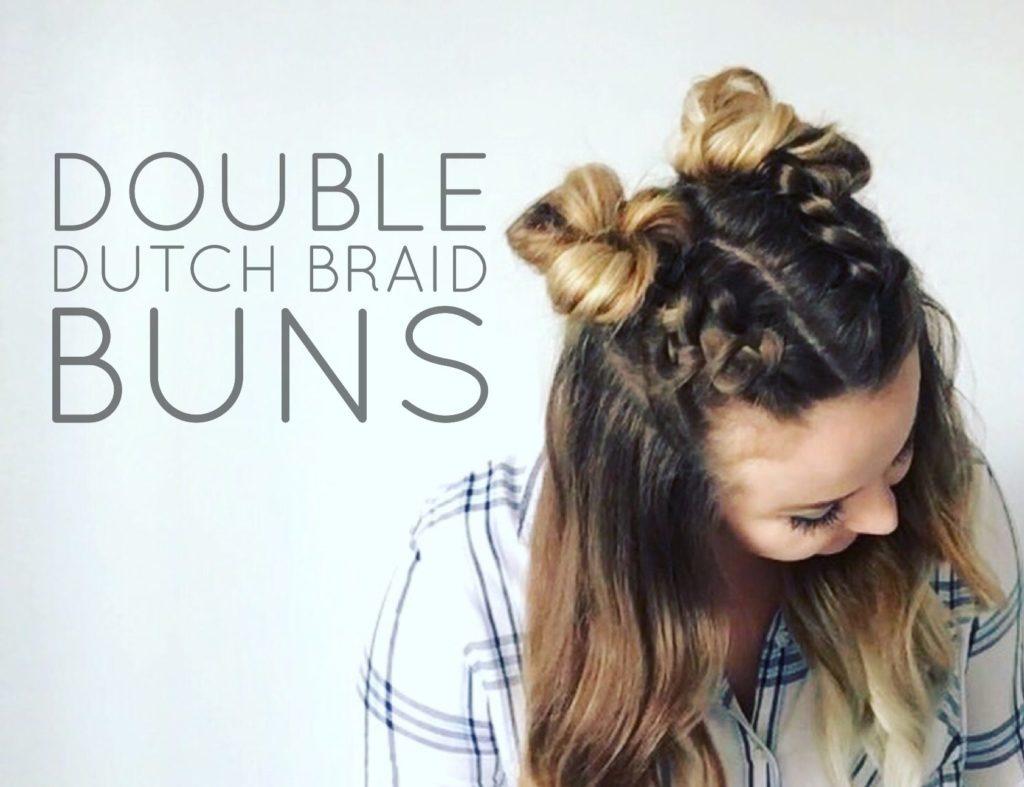 Double Dutch Braid Buns Half Up Hairstyle Cassie Scroggins