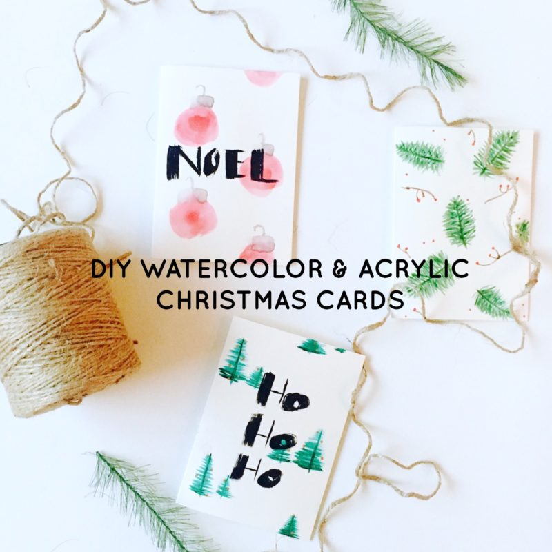 DIY Watercolor & Acrylic Christmas Cards