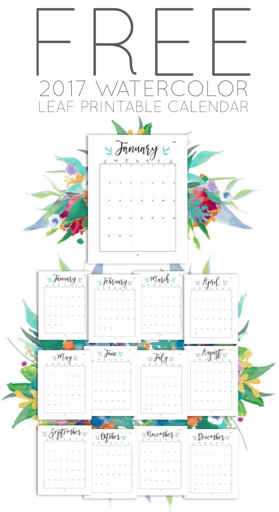 Free 2017 Watercolor Leaf Printable Calendar