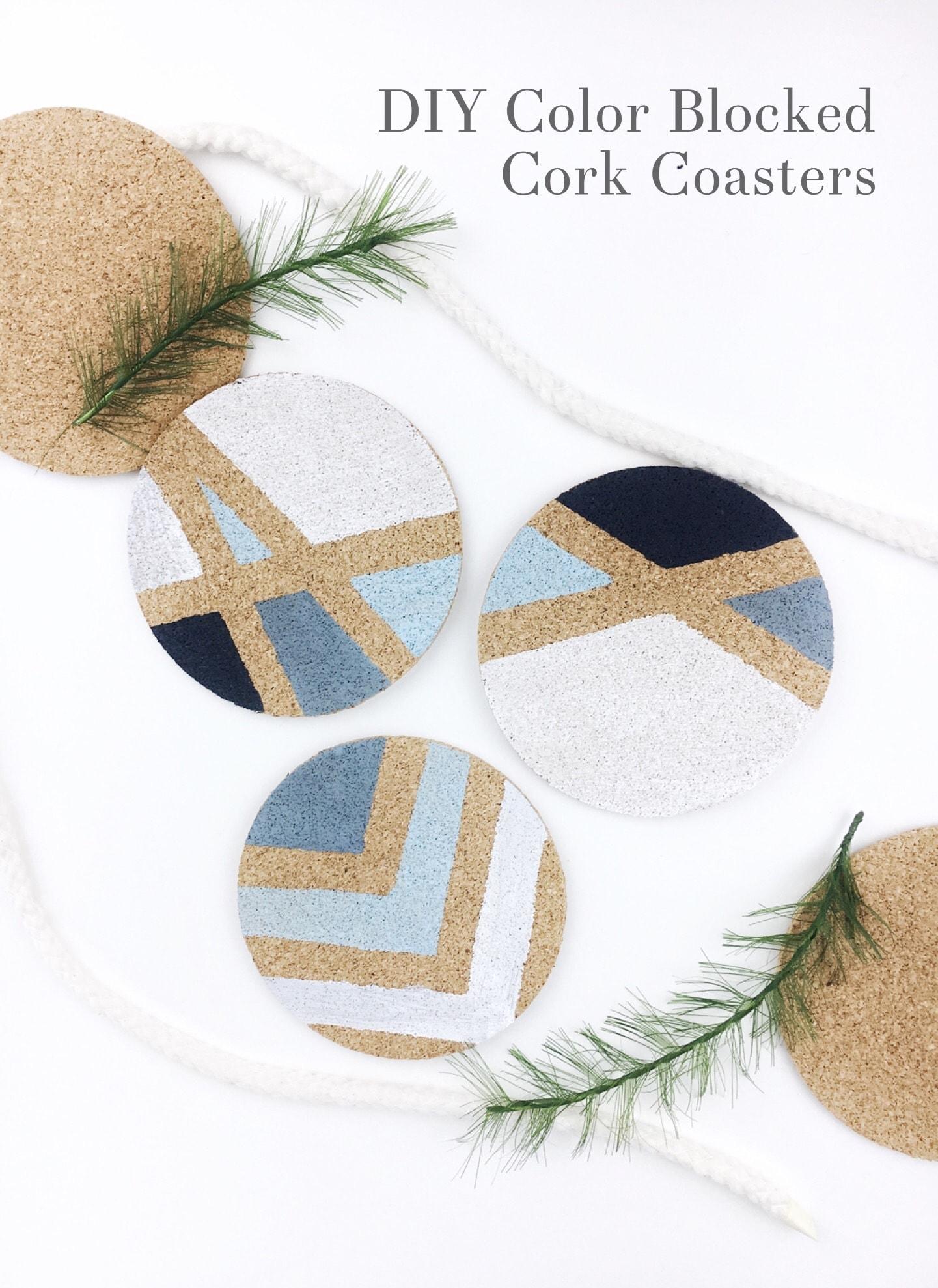 DIY Color Blocked Cork Coasters
