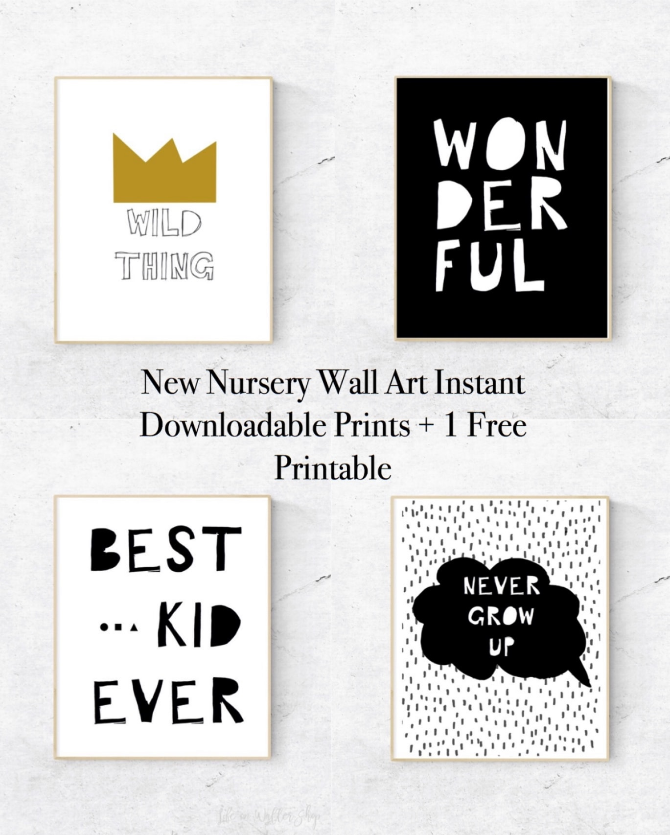 New Nursery Wall Art Instant Downloadable Prints + 1 Free Printable