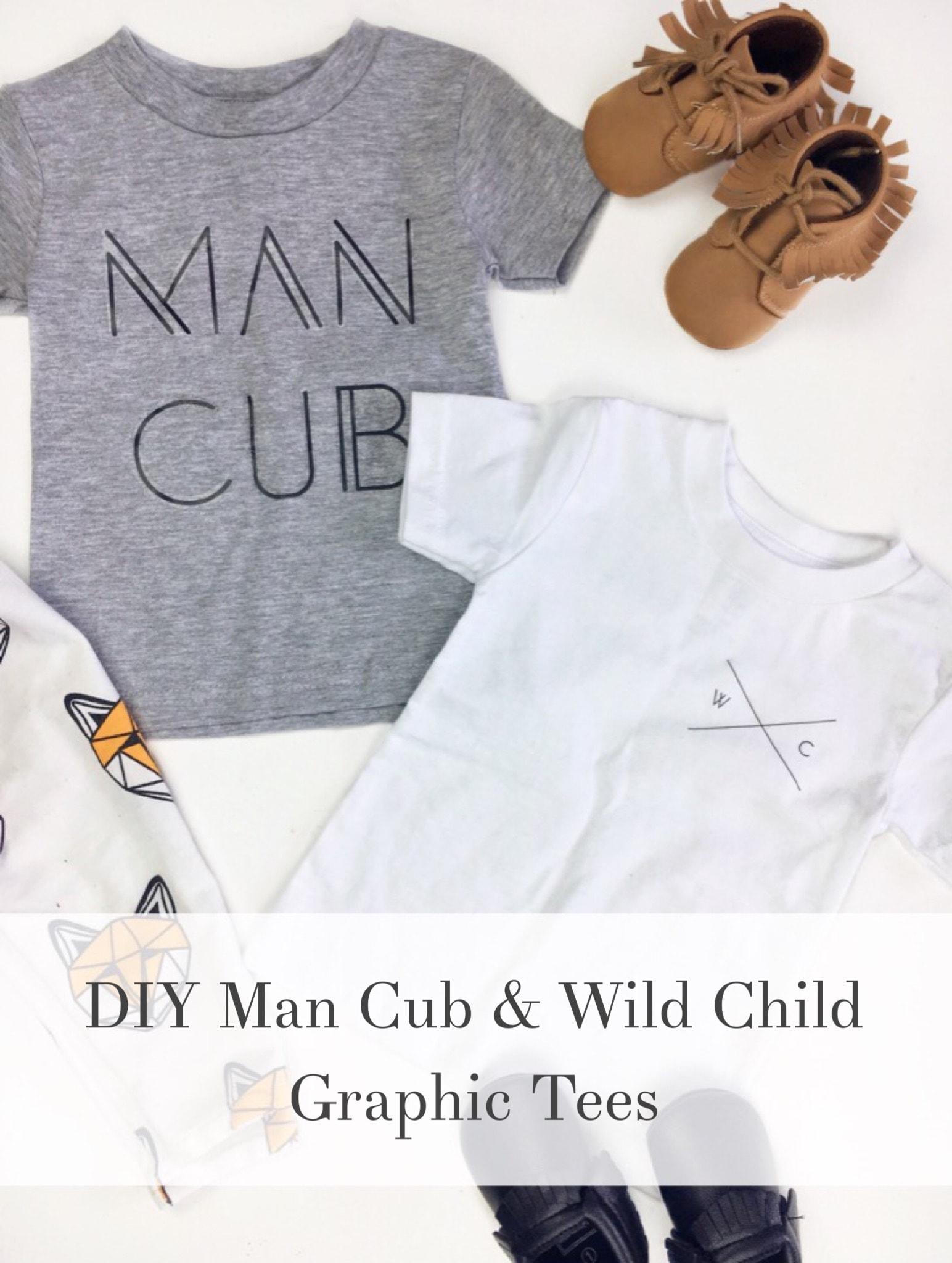DIY Man Cub & Wild Child Graphic Tees w/ Free Printable Graphics