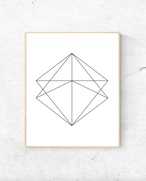 Geometric diamond modern wall art
