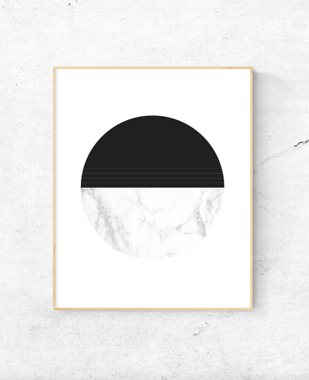 marble and black circle wall art