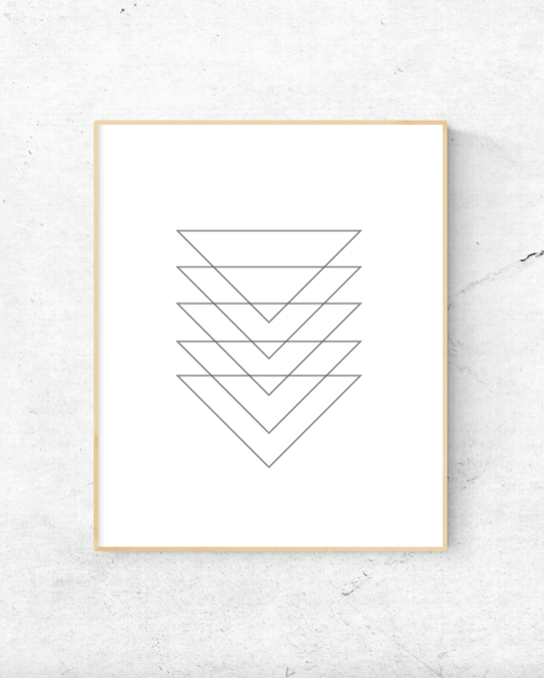 Geometric triangles scandinavian wall art