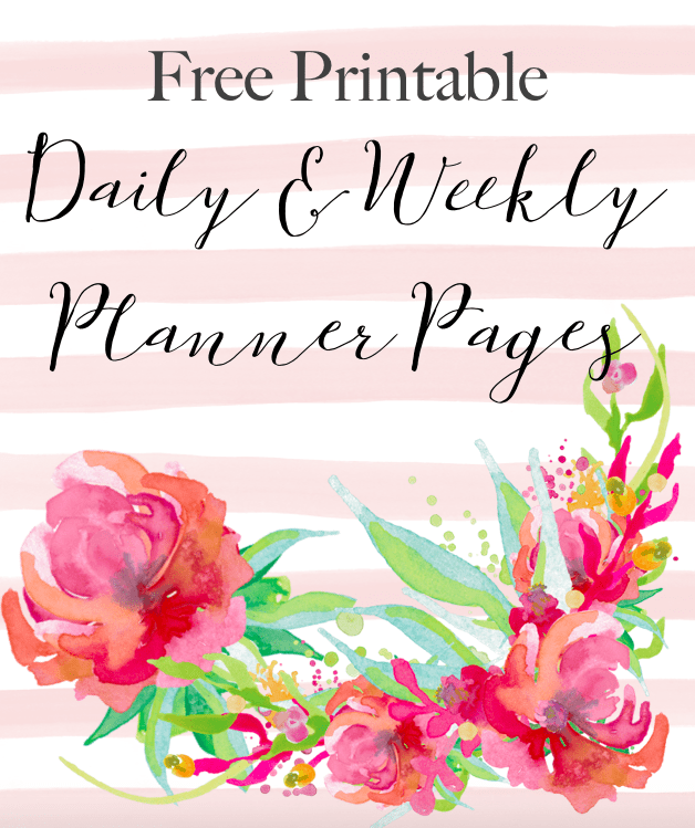 4 Free Printable Floral Daily Weekly Planner Pages Cassie Scroggins