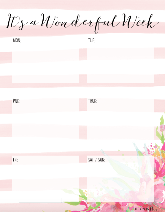 4 Free Printable Floral Daily & Weekly Planner Pages