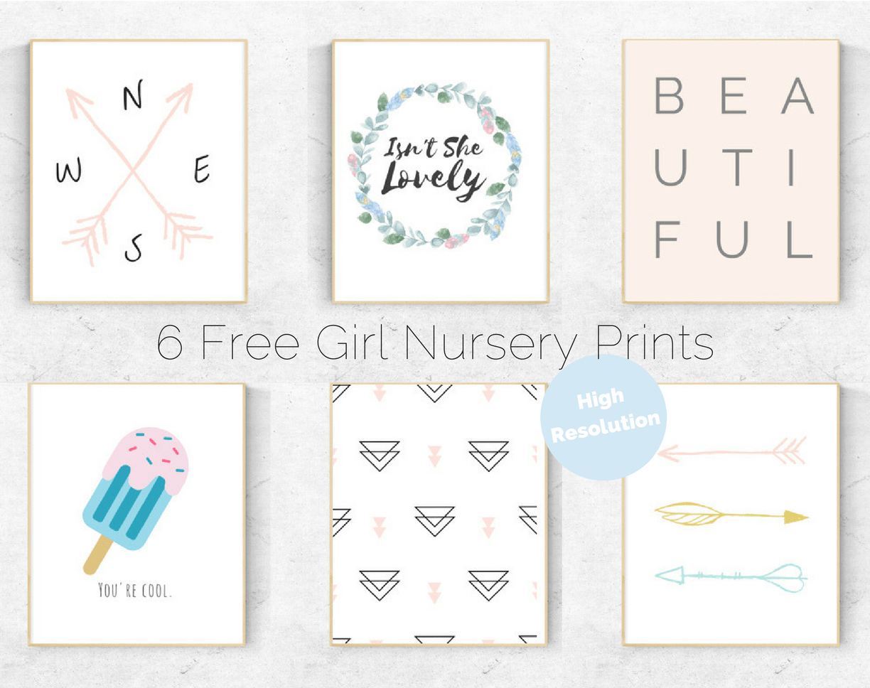 6 free girl nursery prints