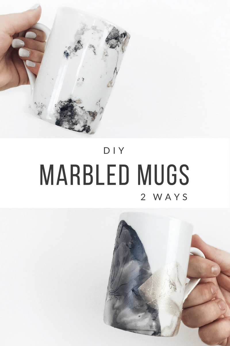DIY Marbled Mugs 2 Ways