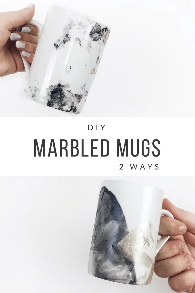 DIY Marbled Mugs 2 Ways