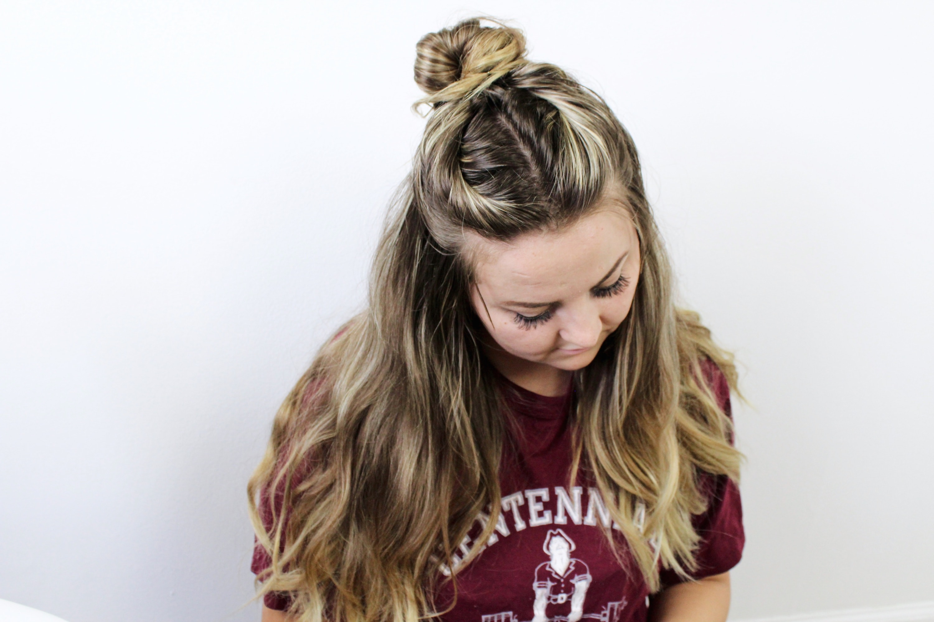 Easy 5 Minute half-up Twisted Top Knot Tutorial
