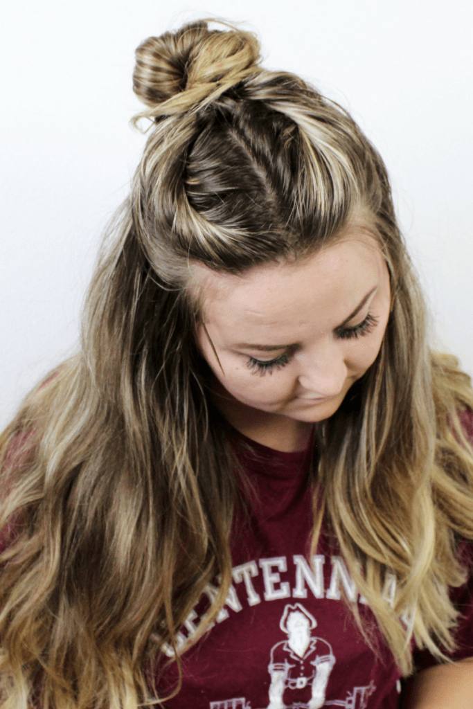 twisted half up messy bun