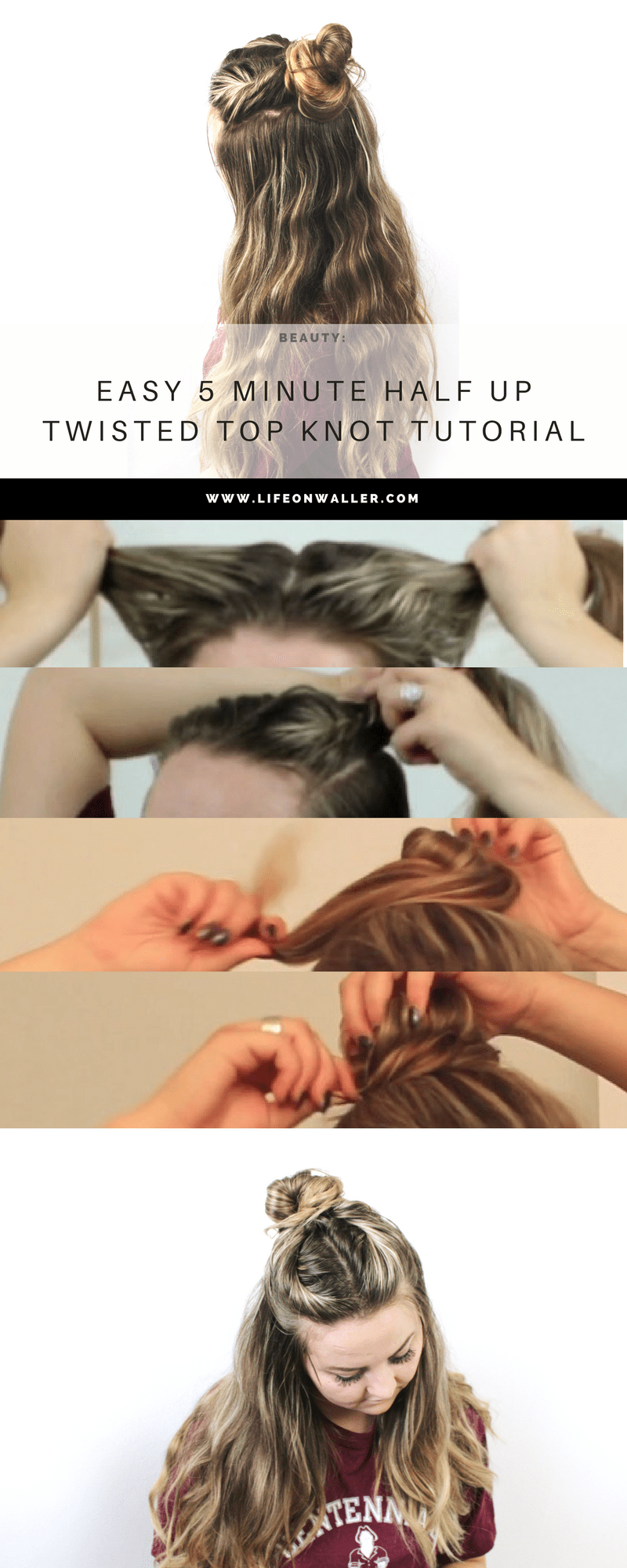 Easy 5 Minute twisted to knot half up hairstyle