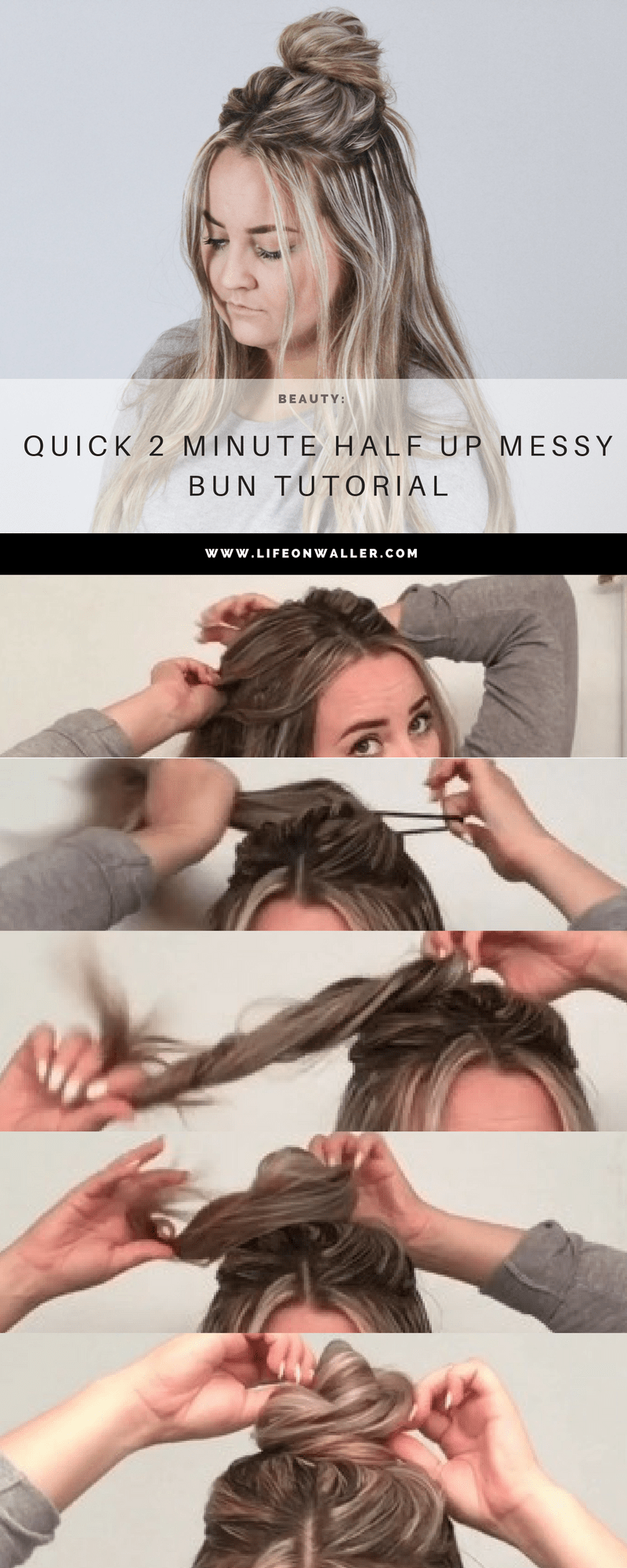 half up messy bun