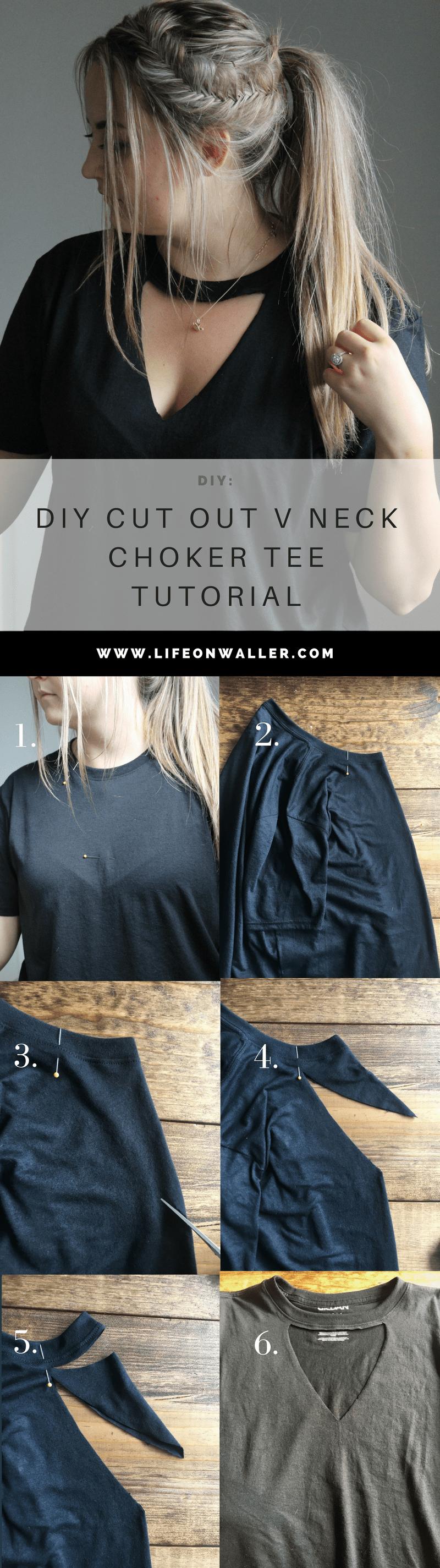diy cut out v neck choker tee tutorial