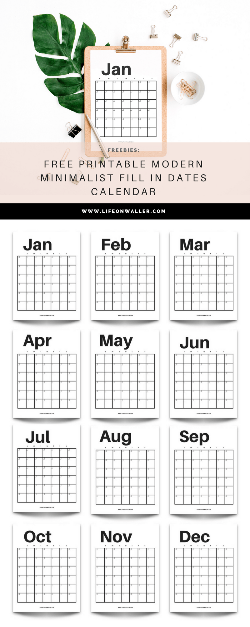 Free Printable Modern Minimalist Fill In Calendar Use For Any Year
