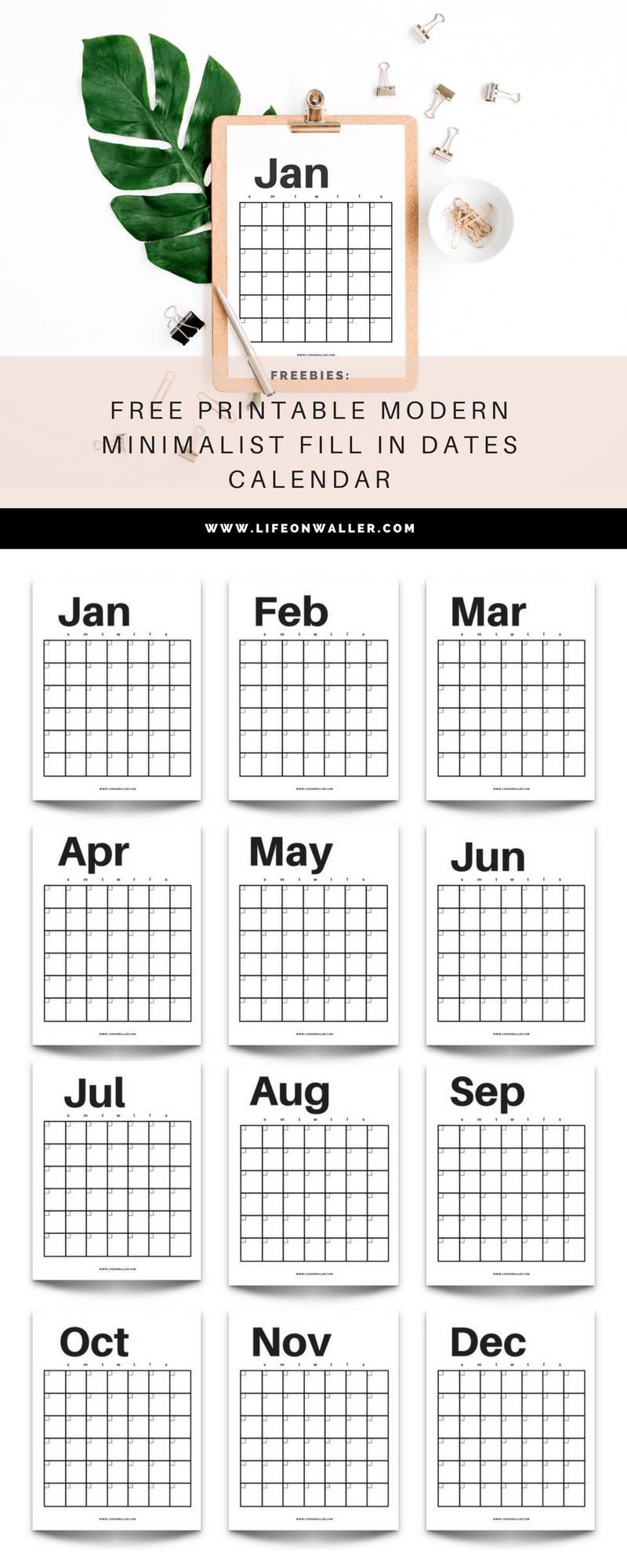 free printable modern minimalist calendar