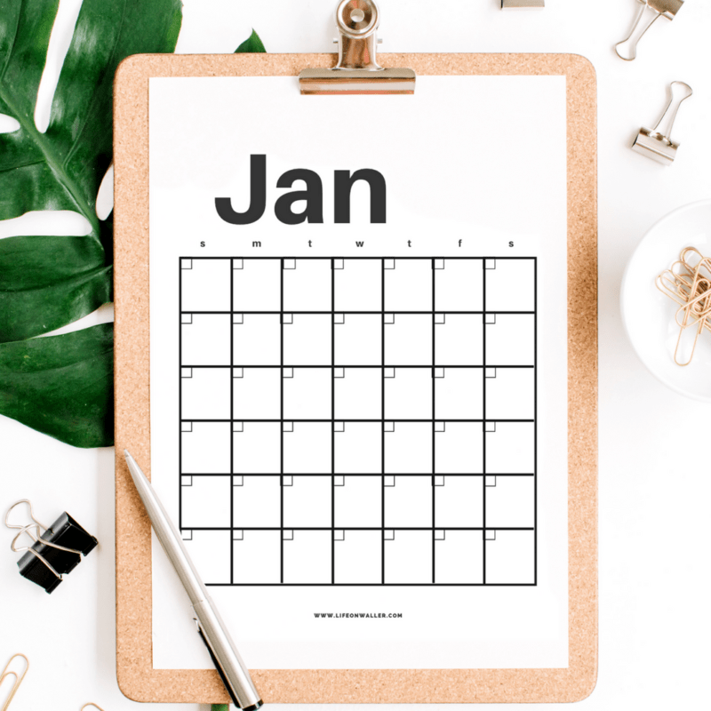 Free Printable Modern Minimalist Fill in Calendar – Use For Any Year