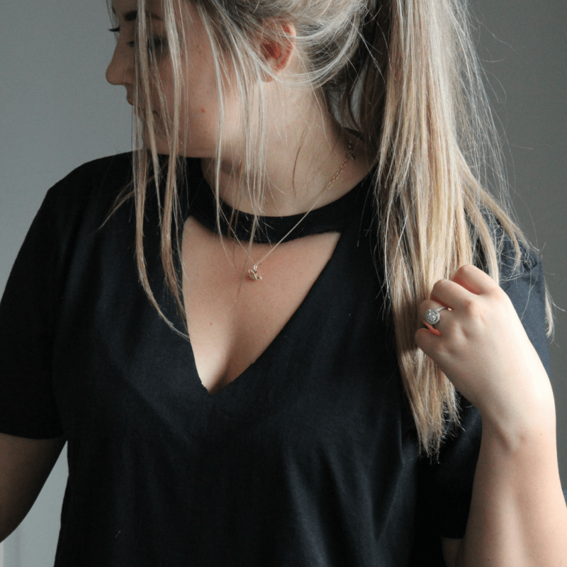 DIY Cut Out V Neck Choker Tee Tutorial