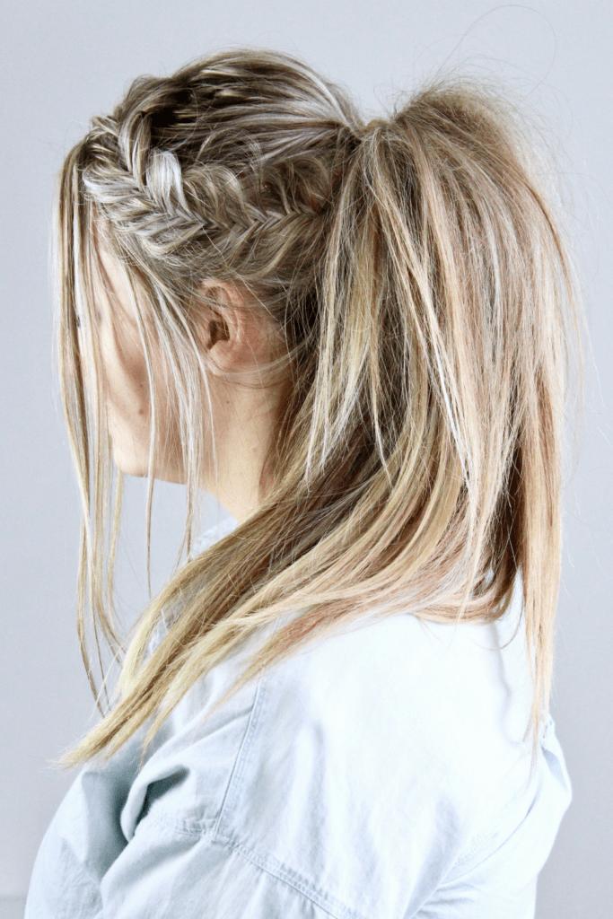 Side Swept Fishtail braid ponytail