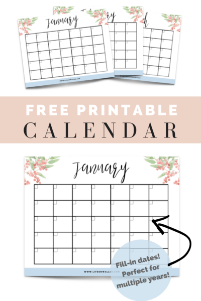 Free Printable Fill-in Floral Calendar