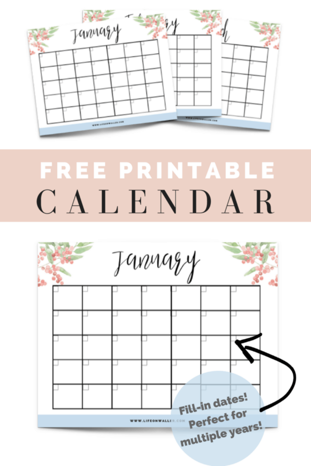 photograph about Printable Fill in known as Free of charge Printable Fill-within just Floral Calendar - Cie Scroggins