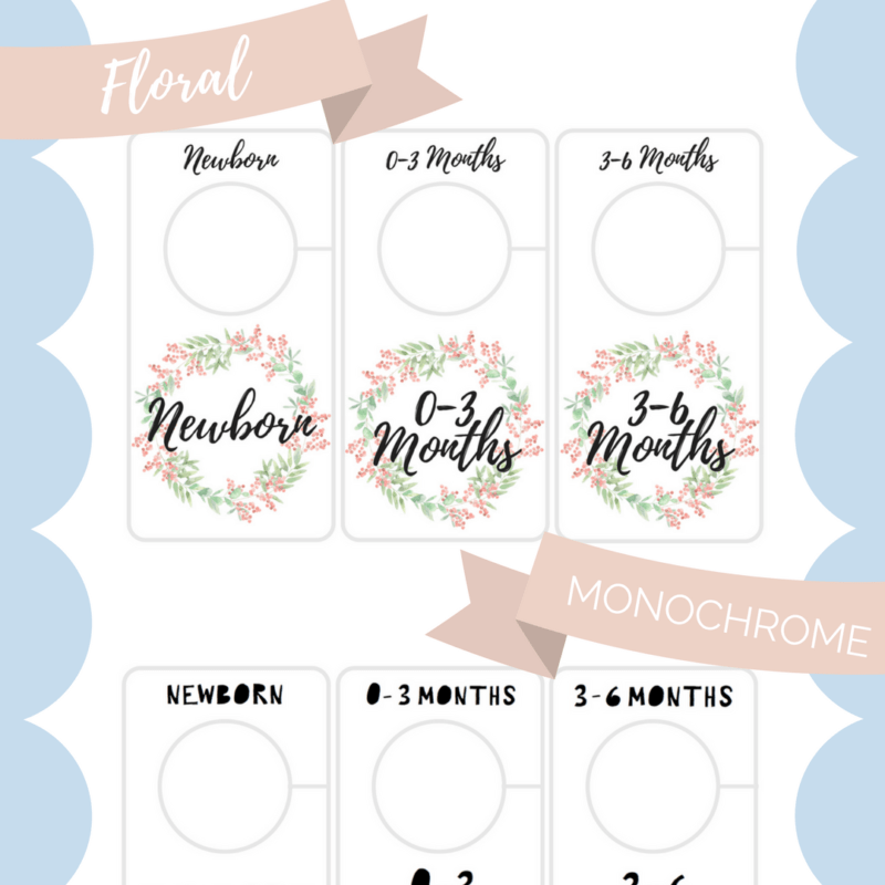 free printable baby closet dividers