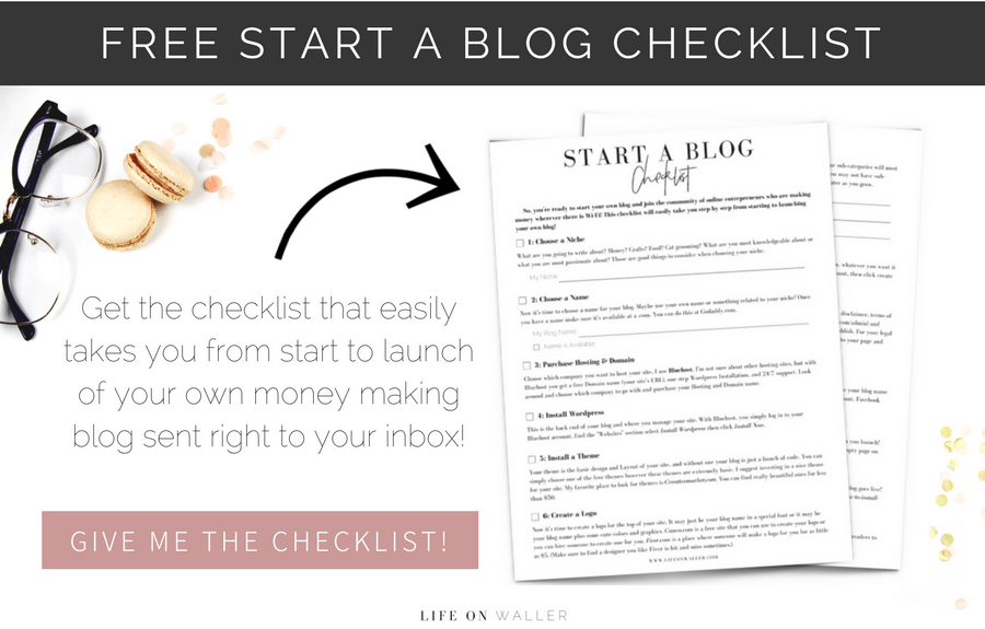 free start a blog checklist