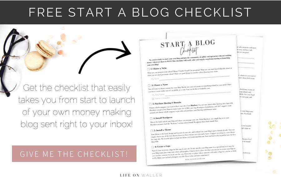 free start a blog checklist