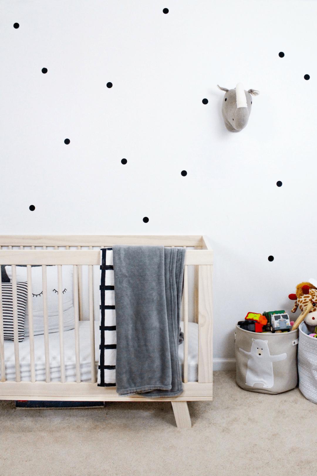Polka dot nursery wall