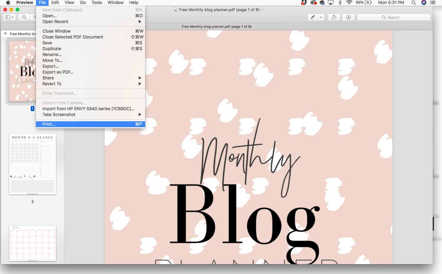 how to print pdf without margins