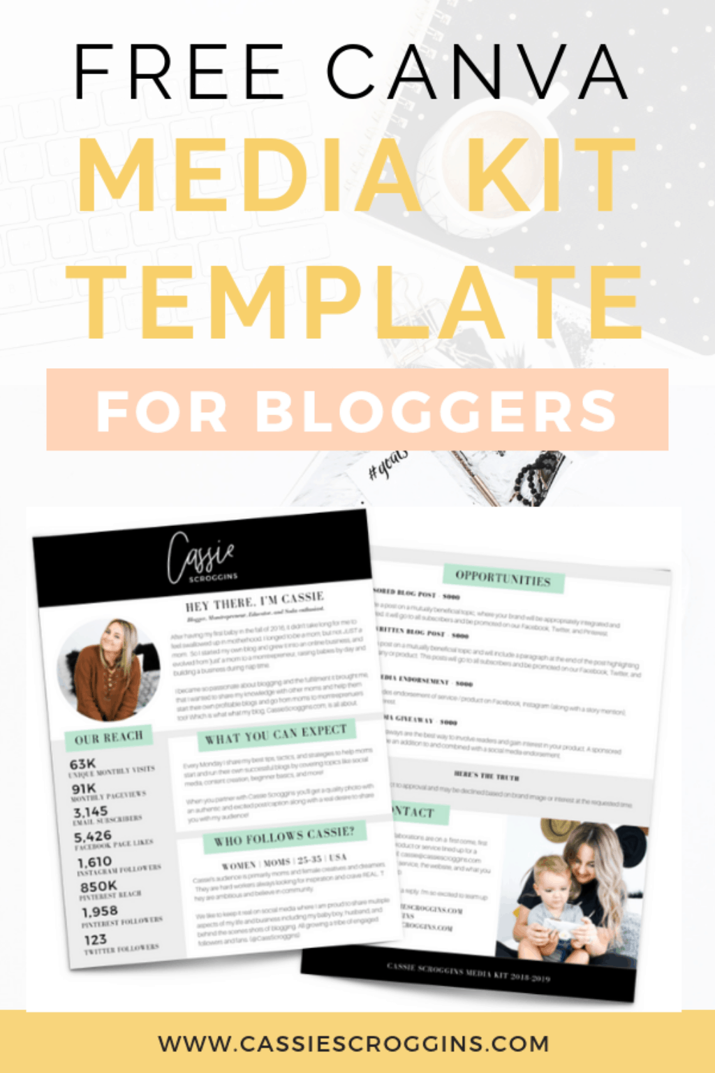 Free Canva Media Kit Template For Bloggers Cassie Scroggins