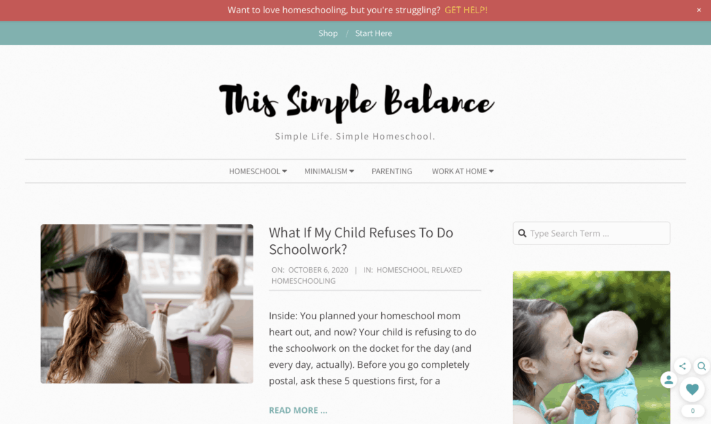 successful mom blog this simple balance