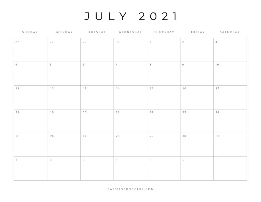 july 2021 free printable calendar page