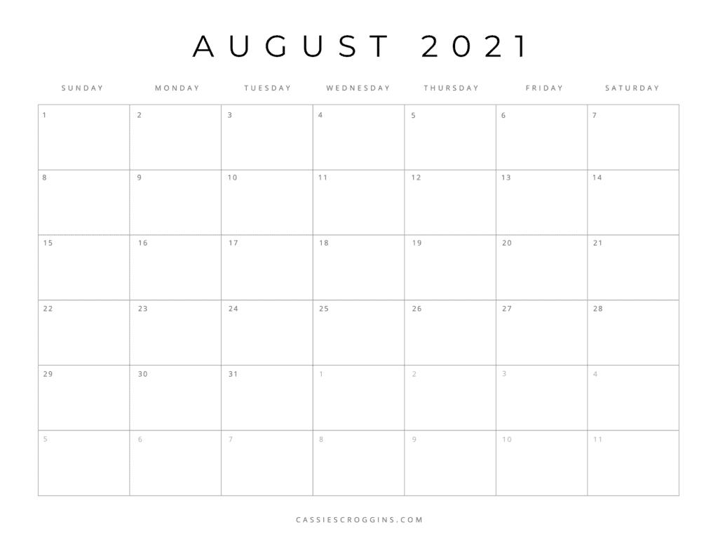 august 2021 free printable calendar page