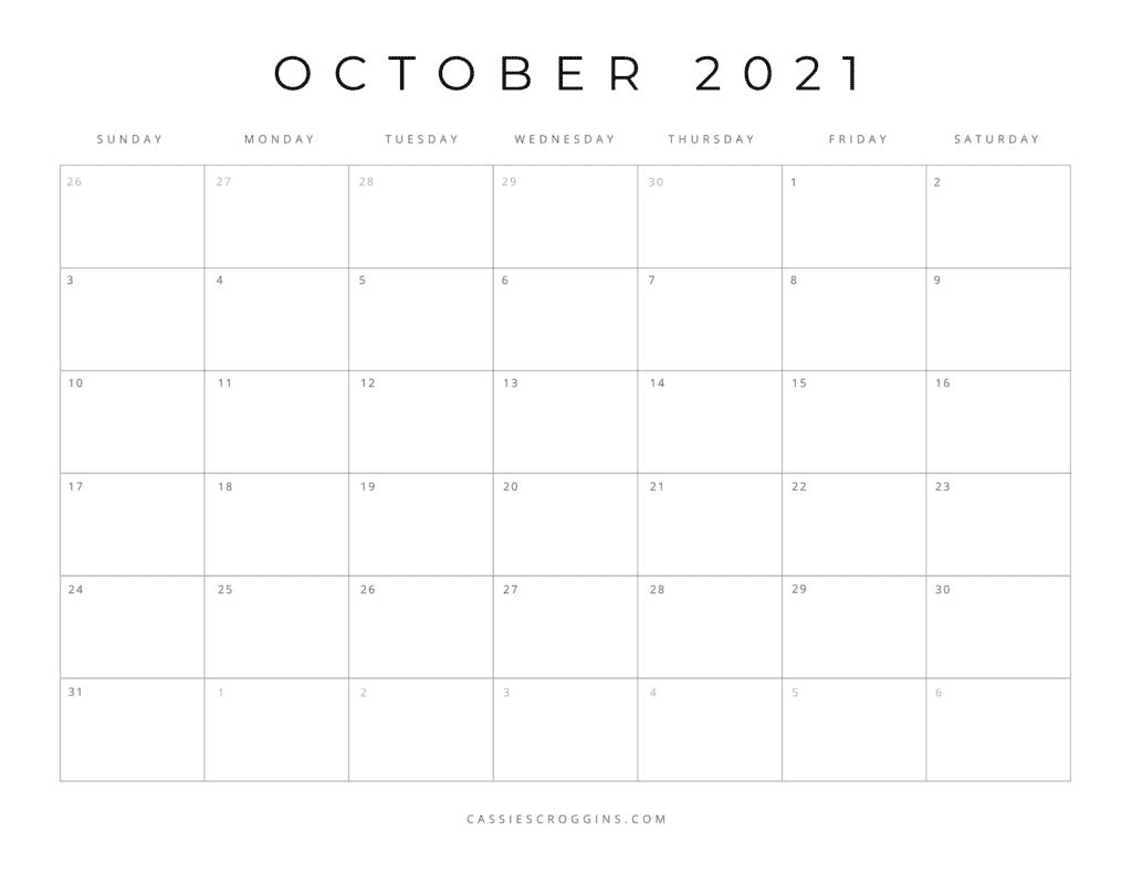 october 2021 free printable calendar page