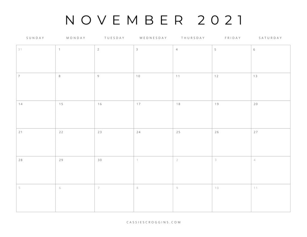 november 2021 free printable calendar page