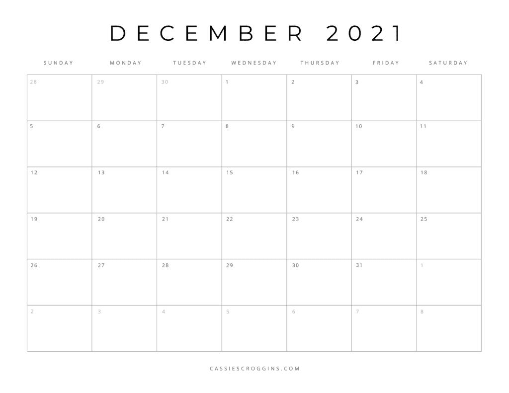 december 2021 free printable calendar page