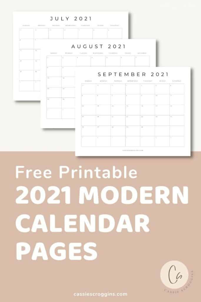 july - december 2021 free printable calendar pages