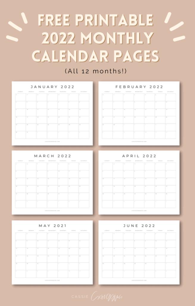 2022 calendar pages