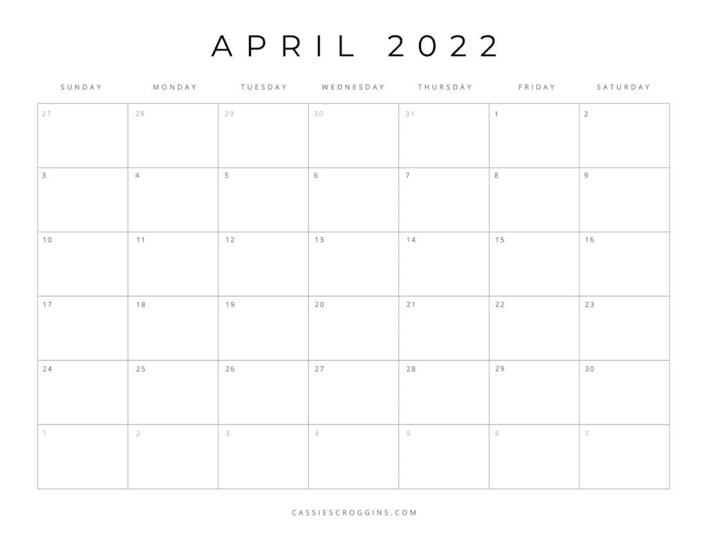kostenloser druckbarer Kalender April 2022 pdf