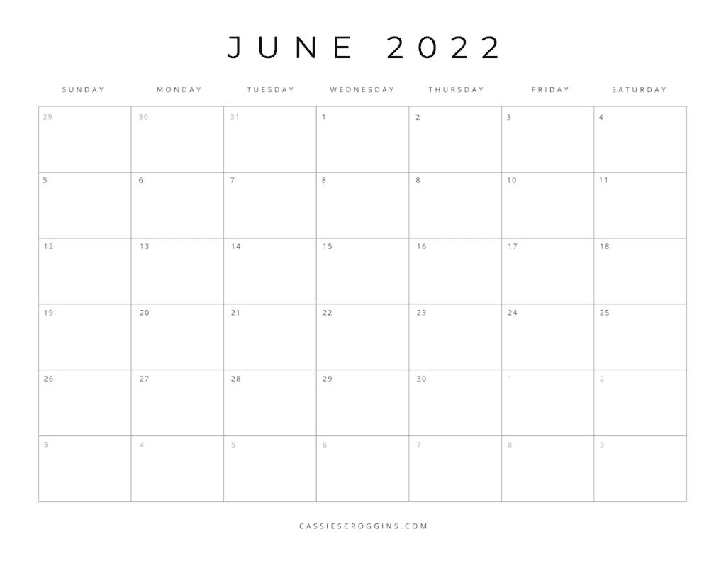 kostenloser druckbarer Juni 2022 Kalender als PDF