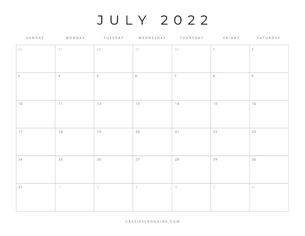 kostenloser druckbarer Kalender Juli 2022 als PDF