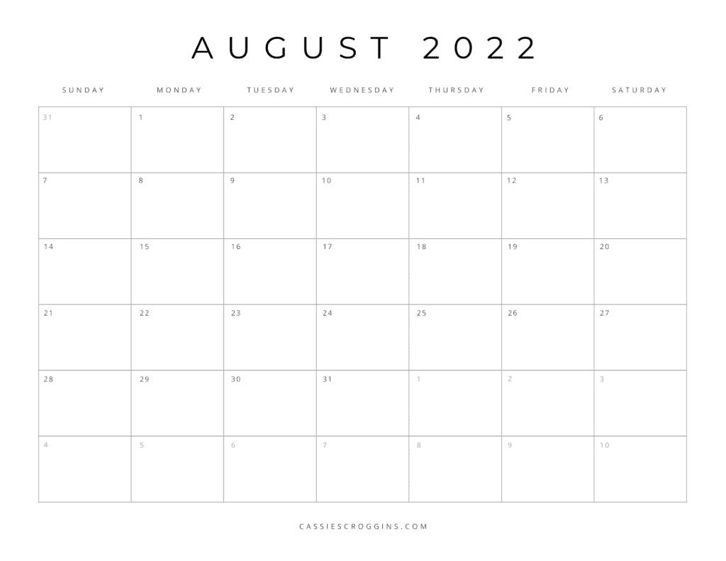free printable august 2022 calendar pdf