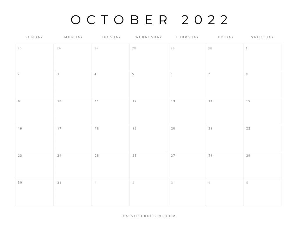 kostenloser druckbarer oktober 2022 kalender pdf