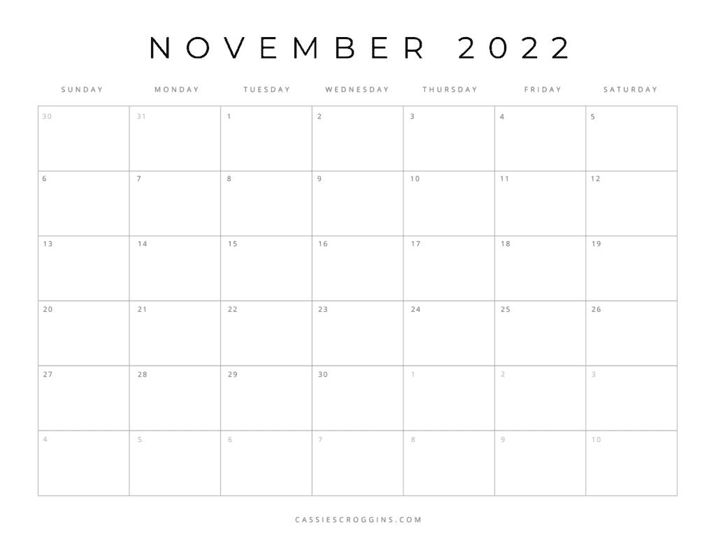 kostenloser druckbarer november 2022 kalender pdf