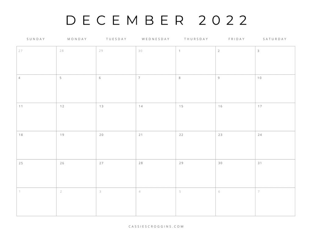 kostenloser druckbarer dezember 2022 kalender pdf